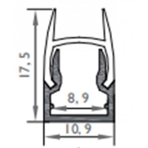 Профиль для стеклянных полок 128 17,5х10,9 мм, 8,9мм, 2м